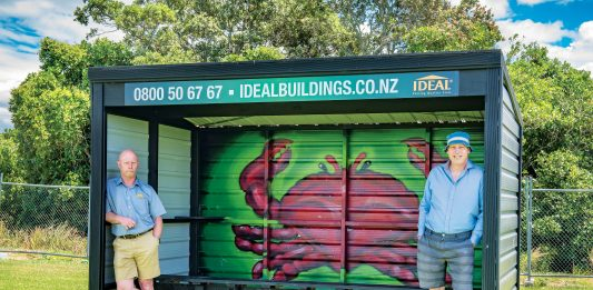 Long time Tauranga resident David Little with local, Antoon Moonen appreciating the brightly adorned side-line shelter at Te Ariki Park, painted by Tautoko Matehaere (a.k.a Sept). Photo: Andy Belcher.