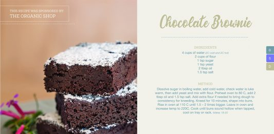 Picture of a recipe for brownies from the Tauranga Waldorf School cookbook