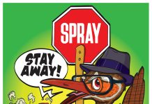 a picture of a kiwi with a red spray sign and a spray can saying stay away