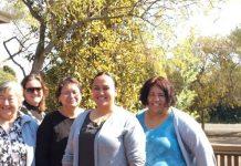Te Whānau a Apanui Community Health team from left: Nurse Waimate Ngamoki, GP Rachel Thomson, Administrator Ripeka Te Haara and nurses Toma Walker and Kiritahanga Savage. Absent Nurse Dorothy Keir and Practice Manager Phillipa Callaghan.
