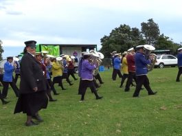 Representatives from seven Rātana bands at Te Pa o Te Ariki (Te Ariki Park), 17 November 2017., at the Morehu Day Aotearoa 2017