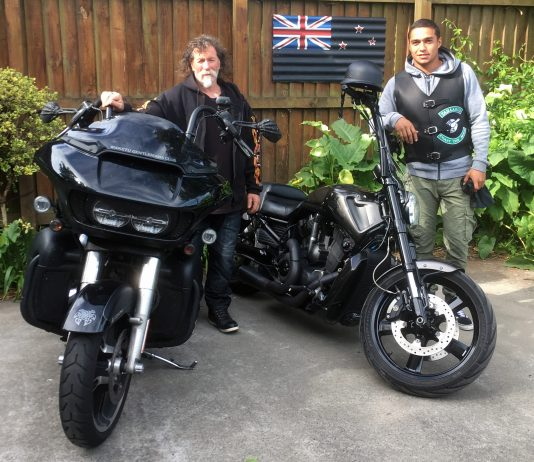 Maketū Gentleman's Club member Rabbi prepares to saddle up with Te Maire Martin for the MGC 2017 Poker Run.