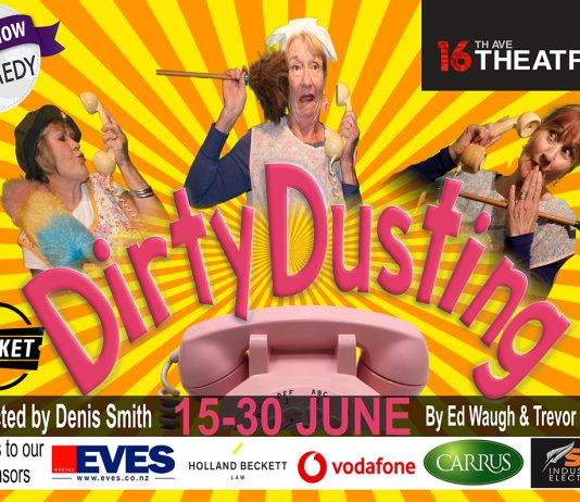Promotional poster for the dirty dusting play at 16th avenue theatre