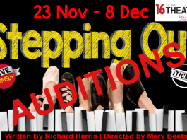 poster for auditions for the stepping out play