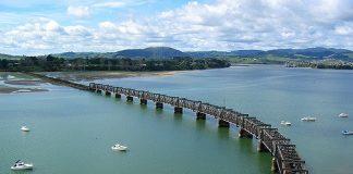 Aerial photograph of a road bridge over an estuary