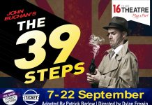 poster for the play the 39 steps produced by 16th ave theatre
