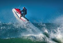Photograph of Shane Beech on a jetski taken By Andy Belcher for action water phootography